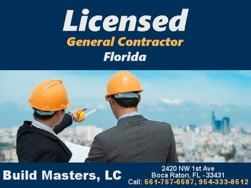 "Hire A #Licensed and #Fully Insured #GeneralContractor for All Your Construction Needs, New  Construction, Kitchens, Bathrooms, Room Additions, Tile, Plumbing, Roofing, Painting, Siding, Flooring, Windows, Doors, Fencing, Electric, Roofing, Decks, Landscape, Sheetrock, Framing, Trim, Drywall, Patios, Fireplaces, Handyman Services.  Call ""Build Masters, LC"" Today For An Obligation FREE Quote and Inspection @ 561-757-6587, 954-333-8512  #LicensedGeneralContractorFlorida #InsuredGeneralContractorFlorida #GeneralContractorFlorida #BuildMastersLC"